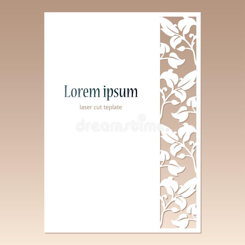 Cartão com beira a céu aberto com folhas e espaço para o texto Molde de corte do laser ilustração stock