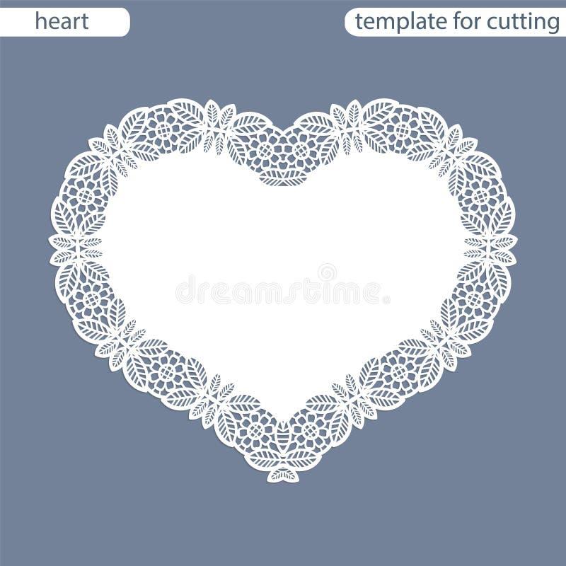 Cartão com beira a céu aberto, doily de papel sob o bolo, molde para cortar sob a forma do coração, cartão do Valentim, weddin ilustração stock