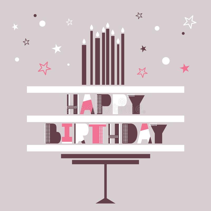 Cartão com bolo, texto inglês, velas, estrelas Feliz aniversario! ilustração royalty free