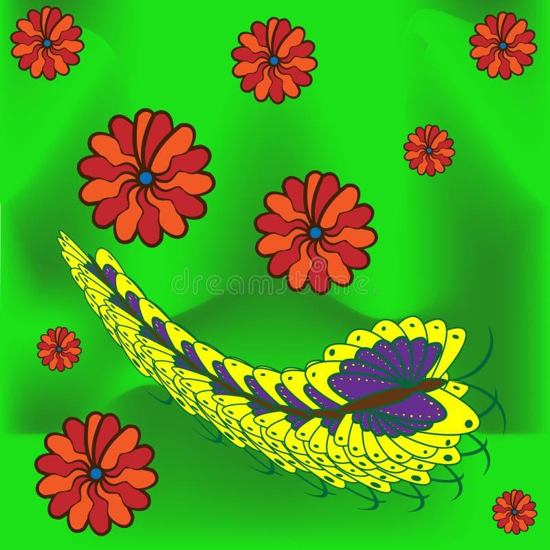 Cartão com borboleta, lagarta e flores cumprimento ilustração do vetor
