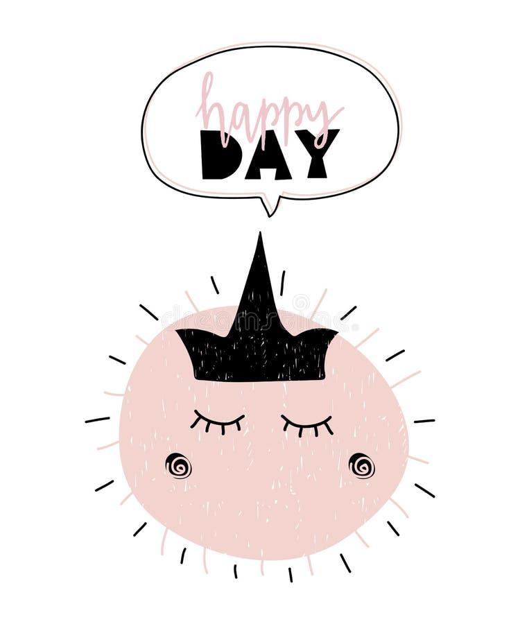 Cartão com a caligrafia que rotula o dia feliz com o sol com a coroa no estilo escandinavo Ilustração do vetor ilustração stock