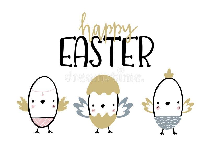 Cartão com a caligrafia que rotula a Páscoa feliz com os 3 filhotes de passarinho nos ovos Ilustração do vetor para o feriado da  ilustração stock