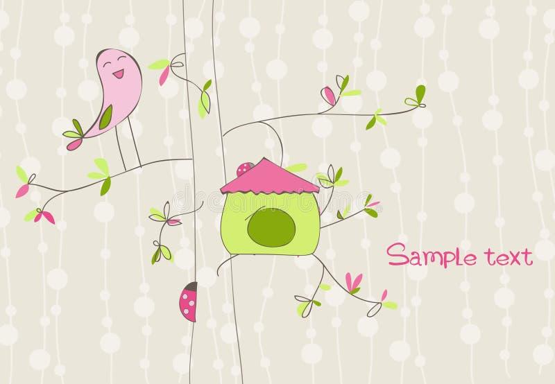 Cartão com casa do pássaro ilustração do vetor