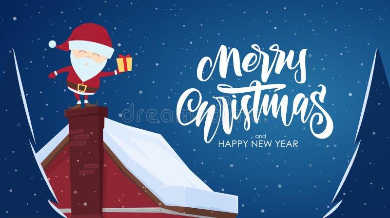 Cartão com cena dos desenhos animados Santa Claus com o presente na chaminé e em rotulação escrita à mão do Feliz Natal ilustração do vetor