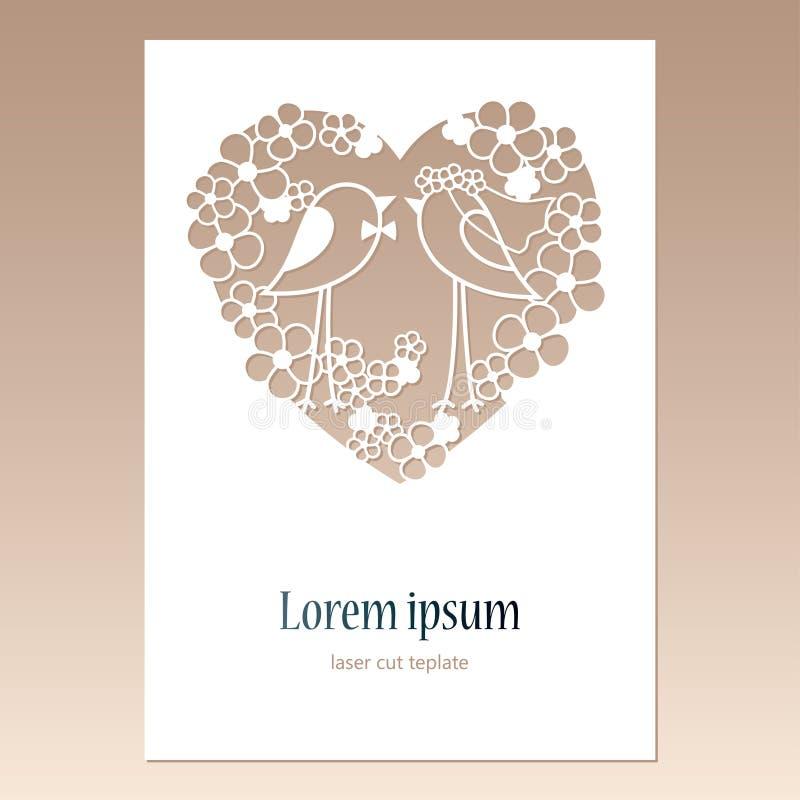 Cartão com coração a céu aberto com dois pássaros e espaço para o texto Molde de corte do laser para cartões ilustração stock