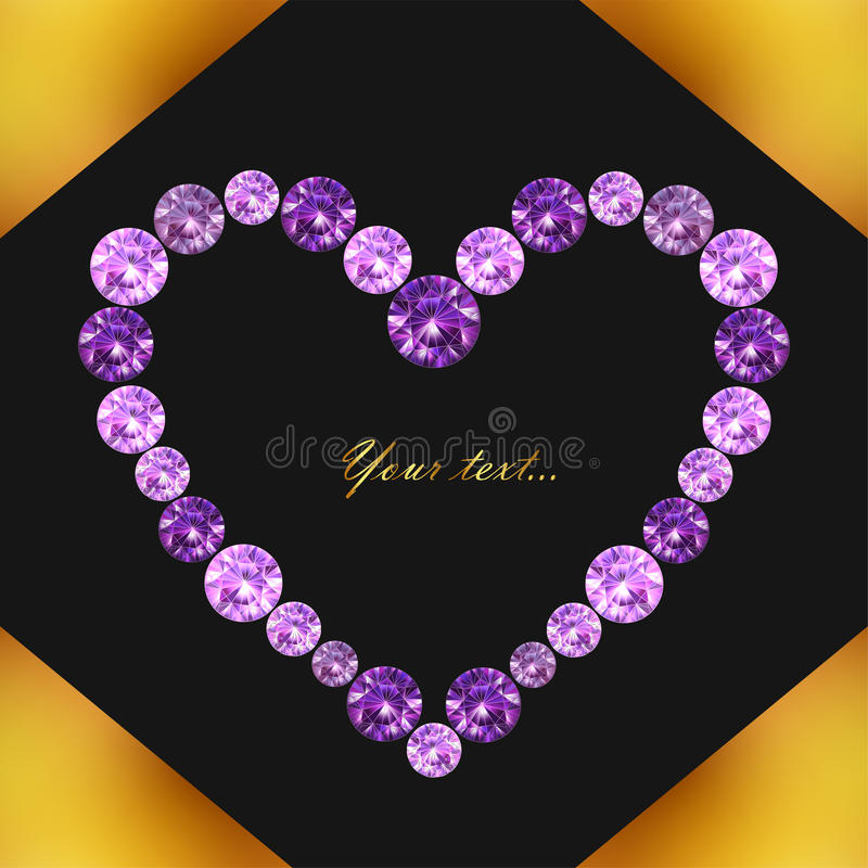 Cartão com coração de gemas roxas no fundo em cores do preto e do ouro, ilustração do vetor ilustração do vetor