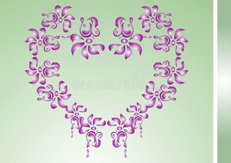 Cartão com coração floral ilustração stock