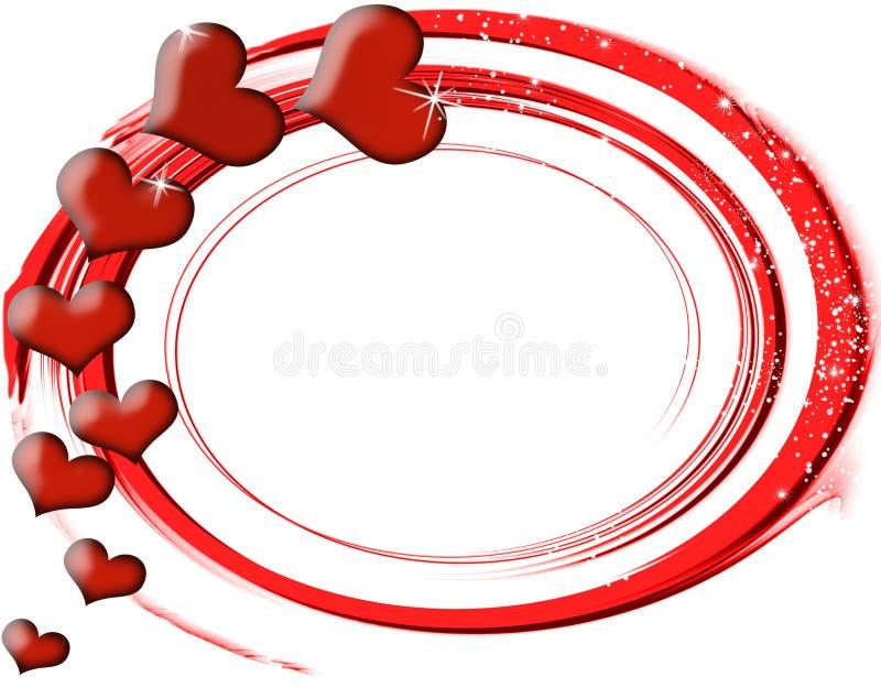 Cartão com corações vermelhos ilustração stock