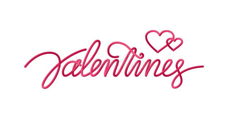 Cartão com 3d linha escrita à mão tipo rotulação de dia do ` s do Valentim ilustração royalty free