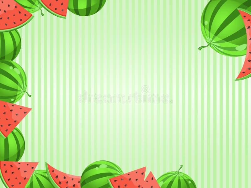 Cartão com decoração da melancia ilustração do vetor