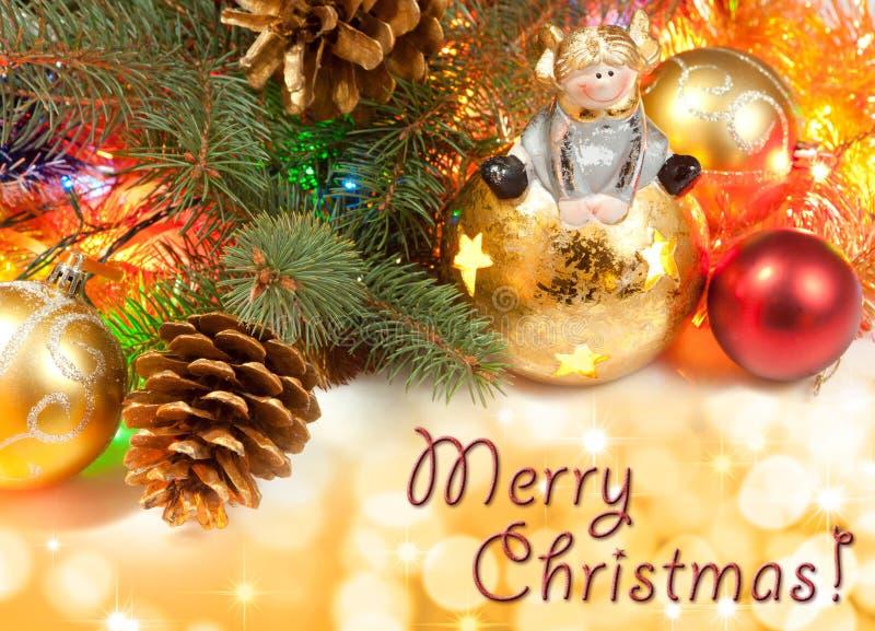Cartão com decorações do Natal foto de stock royalty free