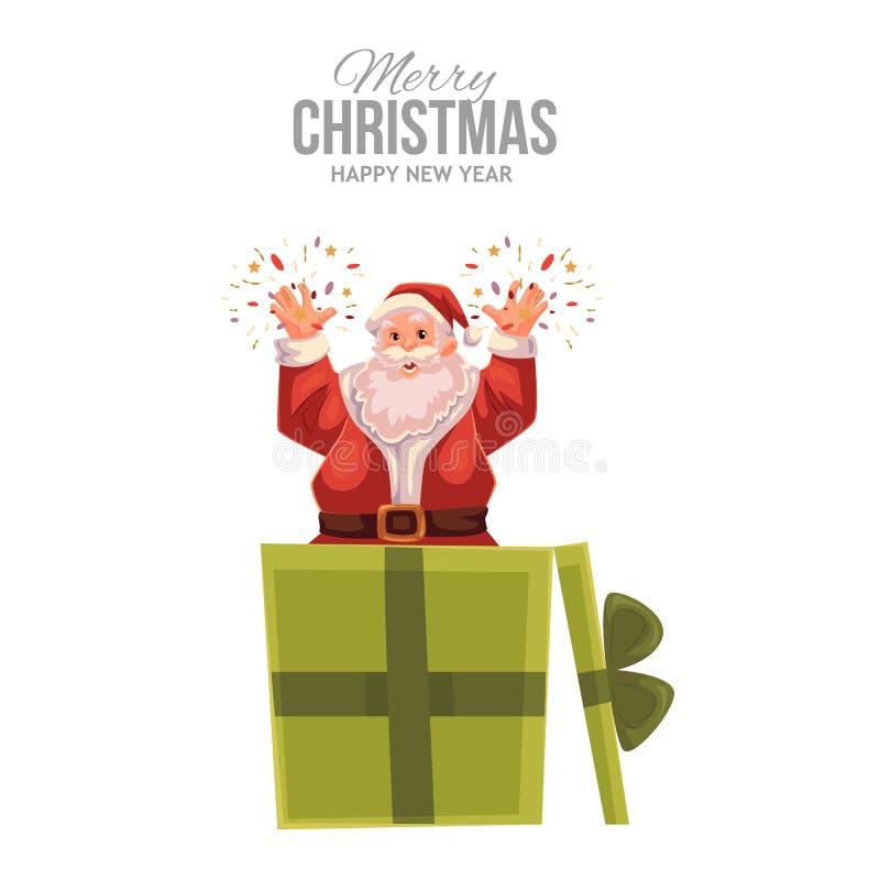 Cartão com desenhos animados Santa Claus estalando fora da caixa ilustração royalty free