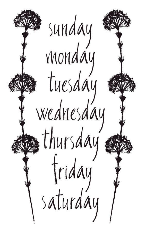 Cartão com dias da semana ilustração do vetor