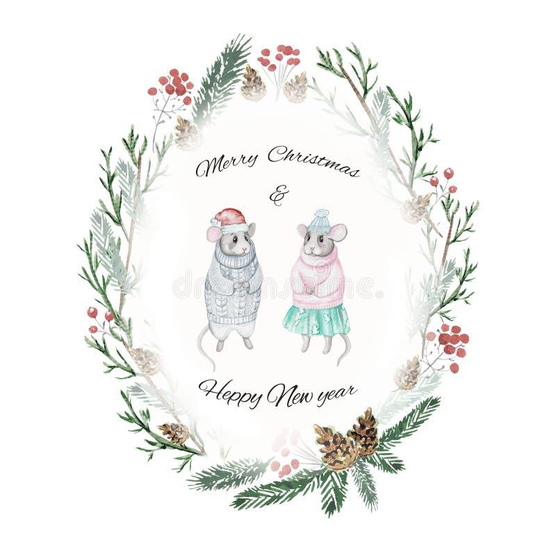 Cartão com dois ratos, cones, bagas e ramos spruce, watercol ilustração do vetor