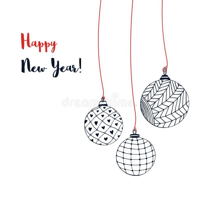 Cartão com esferas do Natal Ilustração tirada mão do ano novo do vetor ilustração royalty free
