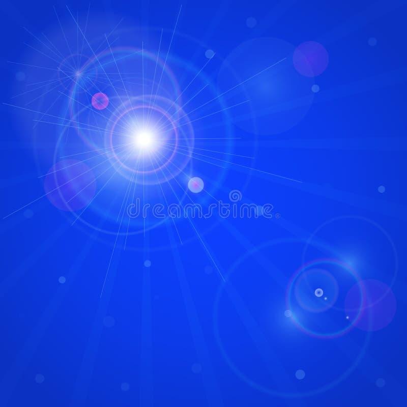 Cartão com a estrela brilhante na obscuridade - céu azul ilustração do vetor