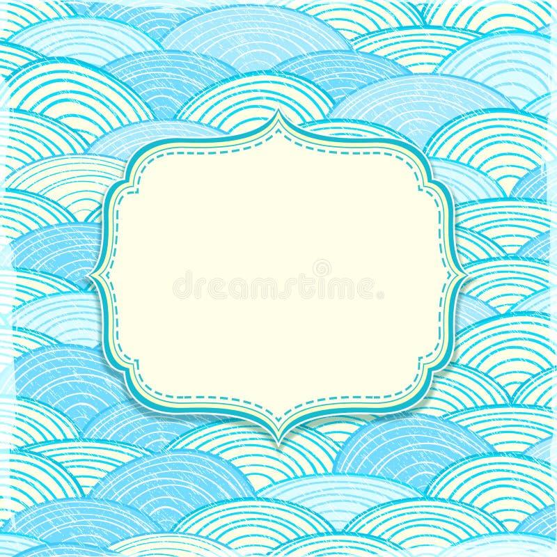 Cartão com etiqueta e ondas de oceano ilustração do vetor