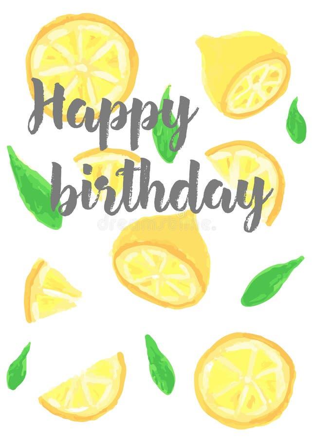 Cartão com a fatia diferente de limão, pintada com pinturas de óleo Desejos do feliz aniversario imagens de stock royalty free
