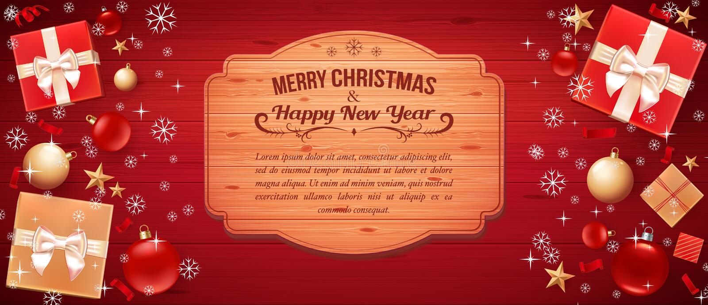 """Cartão com Feliz Natal do †do cumprimento """"e ano novo feliz Ilustração com bolas do Natal, estrelas, caixas de presente e a pla ilustração stock"""