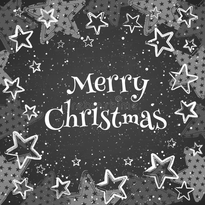 Cartão com Feliz Natal do texto ilustração stock