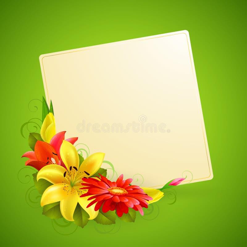Cartão com flor ilustração stock