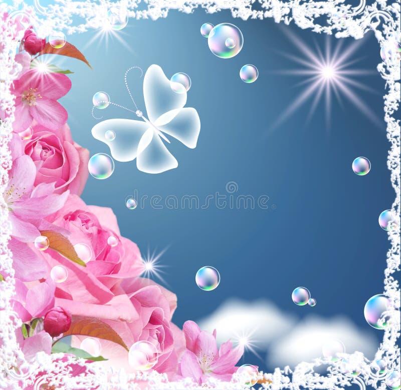 Cartão com flores ilustração do vetor