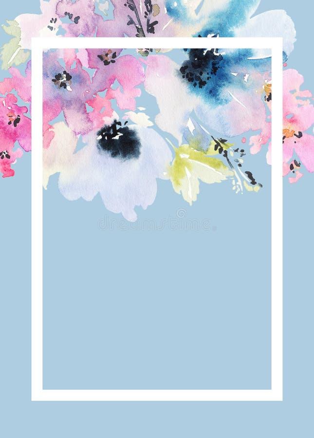 Cartão com flores ilustração royalty free