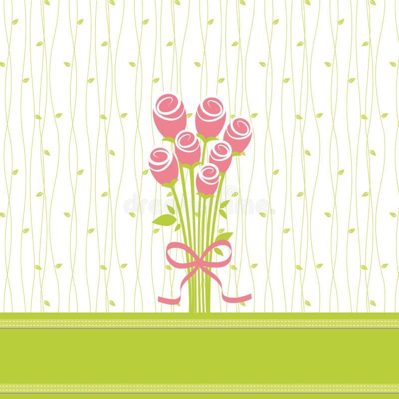 Cartão com flores cor-de-rosa ilustração stock