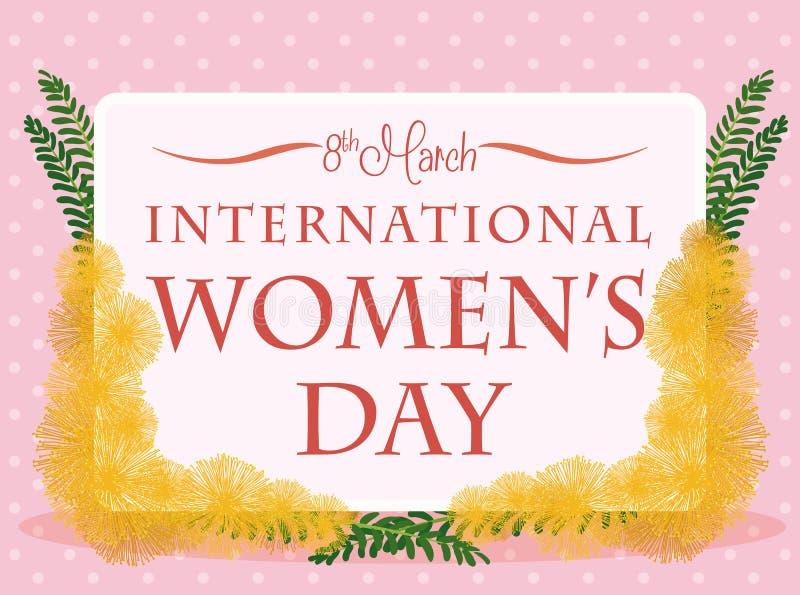 Cartão com flores e folhas da mimosa em torno dele para o dia das mulheres, ilustração do vetor ilustração royalty free