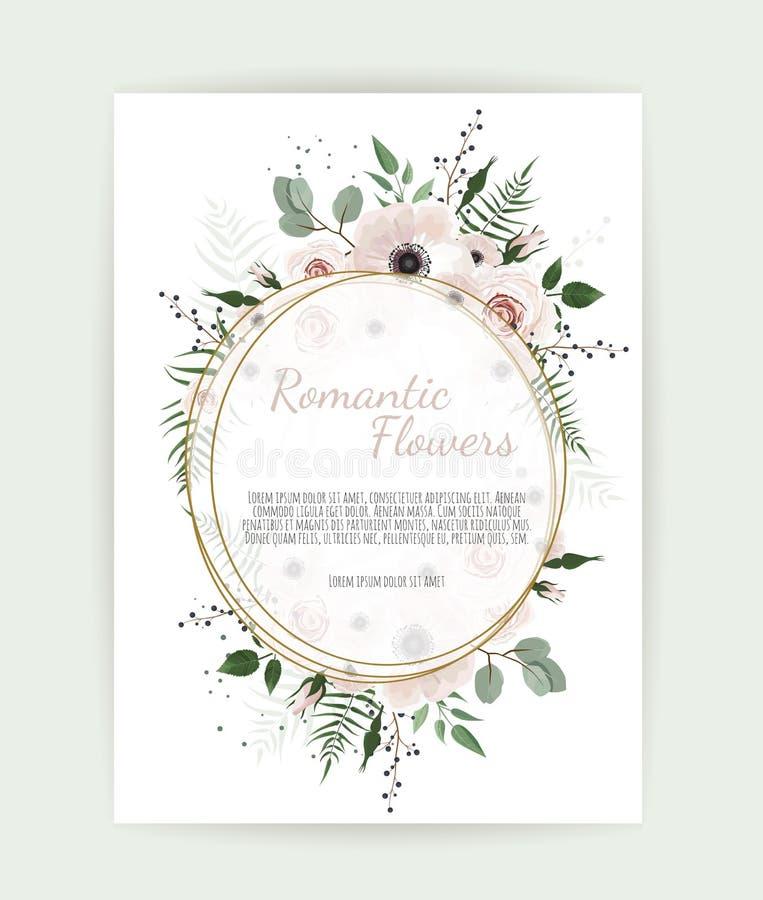 Cartão com folhas e quadro geométrico Cartaz floral ilustração do vetor