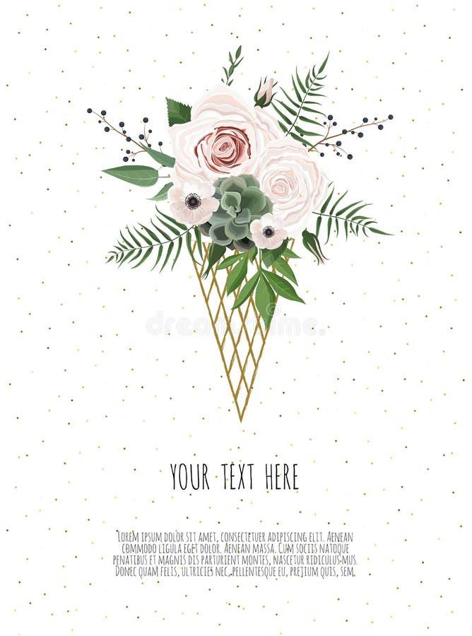 Cartão com folhas e quadro geométrico Cartaz floral ilustração royalty free