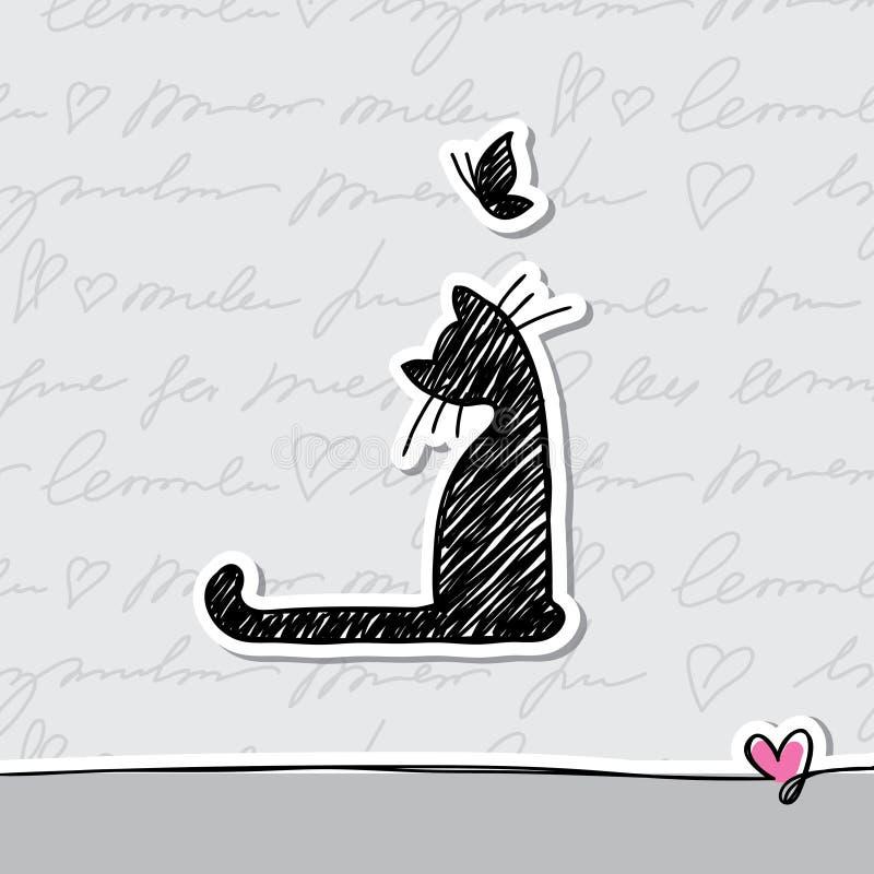 Cartão com gato ilustração royalty free