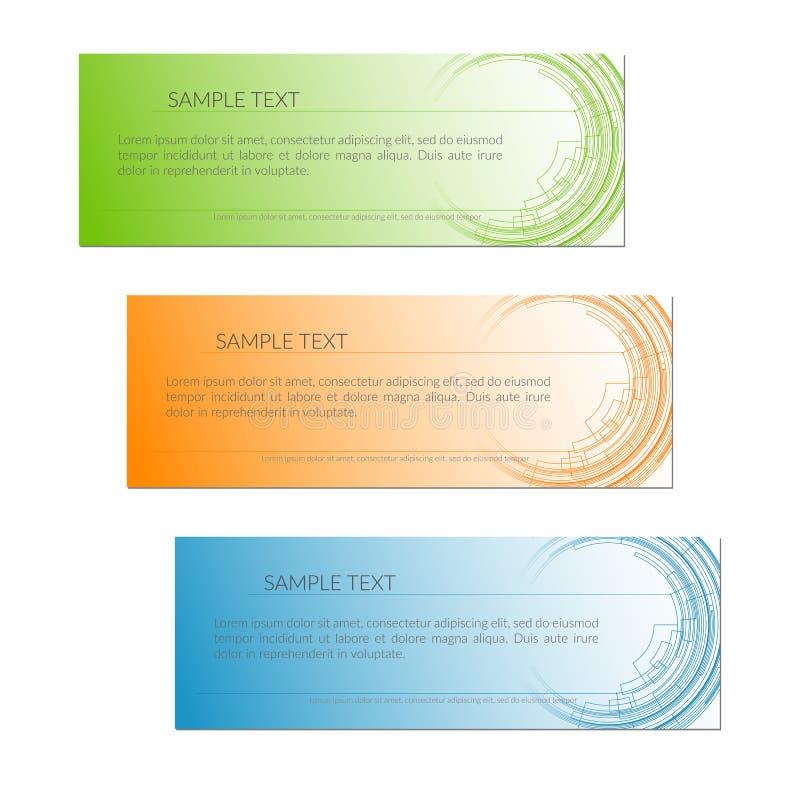 Cartão com linhas radiais abstratas linhas do círculo da tecnologia em um projeto criativo verde azul alaranjado do molde do cart ilustração royalty free