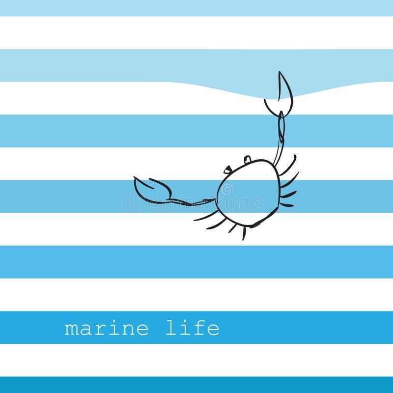 Cartão com listras marinhas ilustração stock