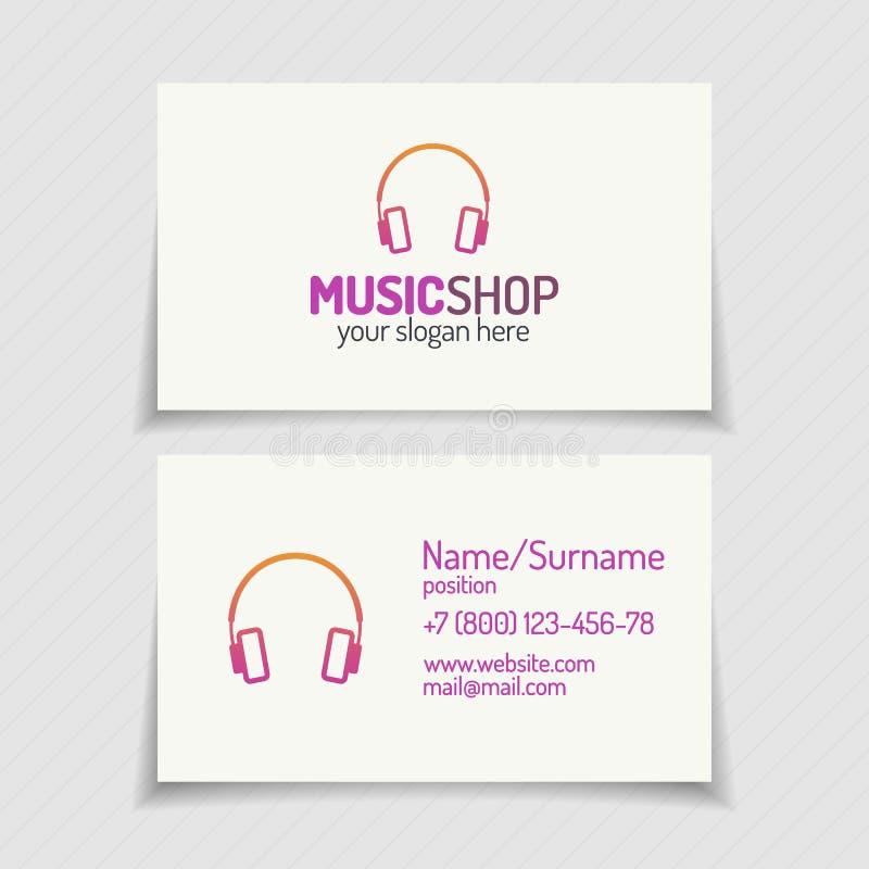 Cartão com logotipo da loja da música com fones de ouvido c moderno liso ilustração do vetor