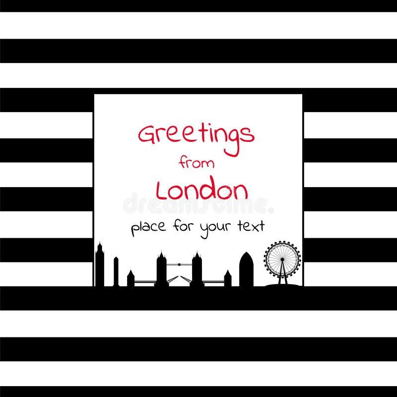 Cartão com lugar quadrado para o texto com listras e cidade SK de Londres ilustração royalty free