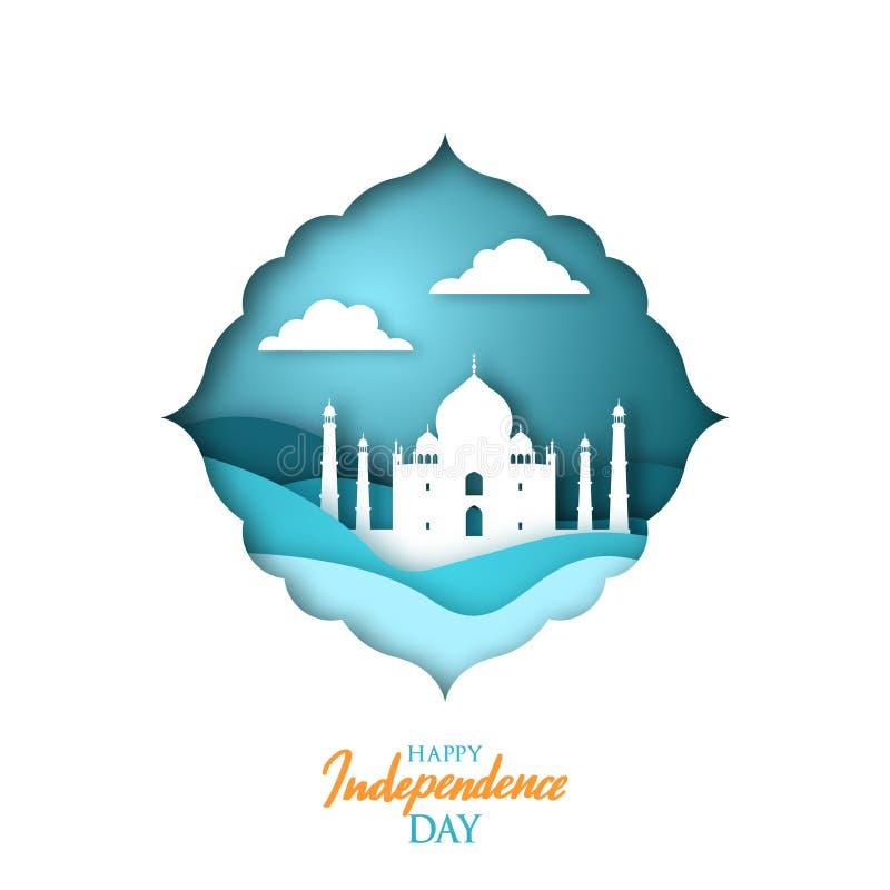 Cartão com marco indiano Taj Mahal no estilo do origâmi ilustração do vetor