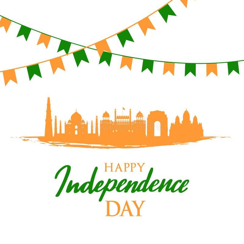 Cartão com marcos indianos Dia da Independência de Índia, o 15 de agosto ilustração stock