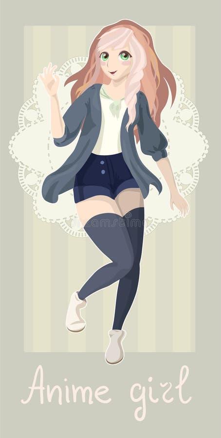 Cartão com menina do anime imagens de stock