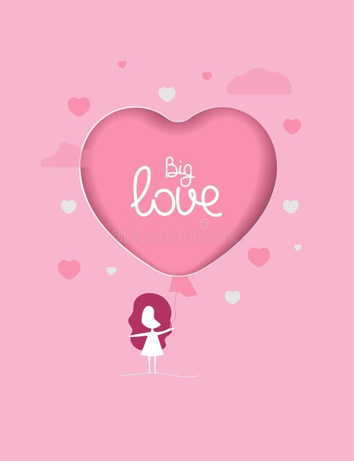 Cartão com menina e o balão cor-de-rosa ilustração royalty free