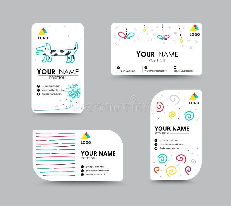 Cartão com molde do cartão do projeto do doodler Cartão corporativo ilustração royalty free