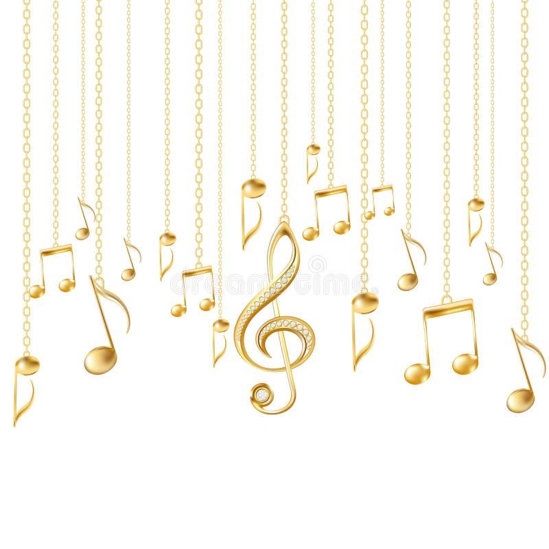 Cartão com notas musicais e clave de sol dourada ilustração do vetor