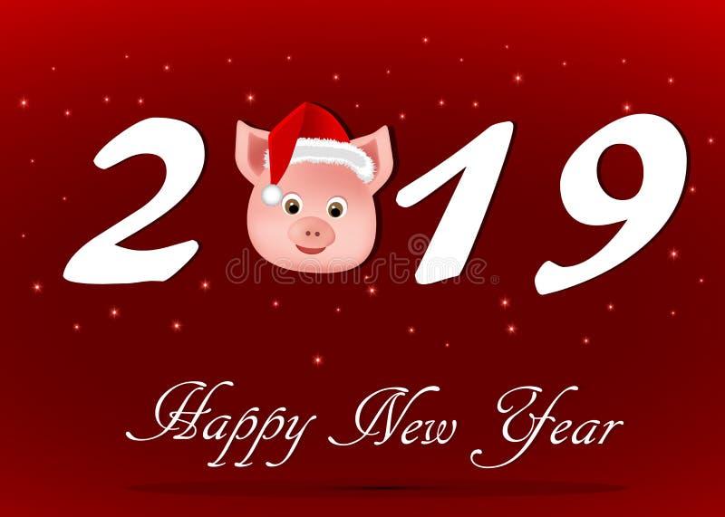 Cartão com o ano novo, o ano do porco ilustração do vetor