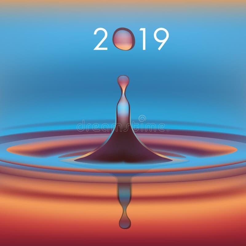 Cartão 2019 com o conceito da água, símbolo do ambiente e ecologia ilustração do vetor
