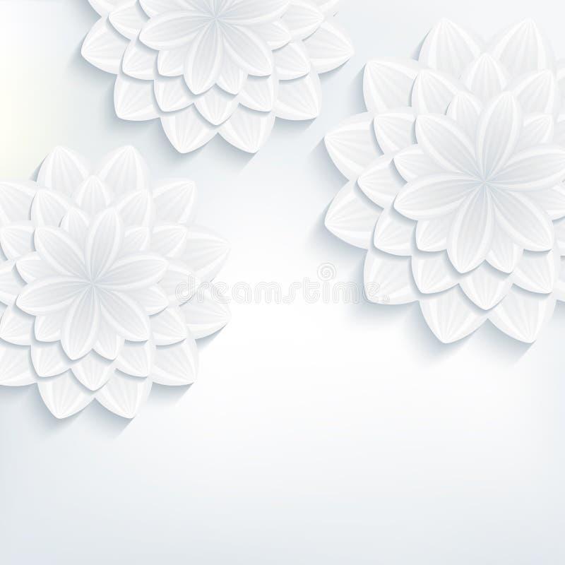 Cartão com o crisântemo da flor 3d ilustração royalty free