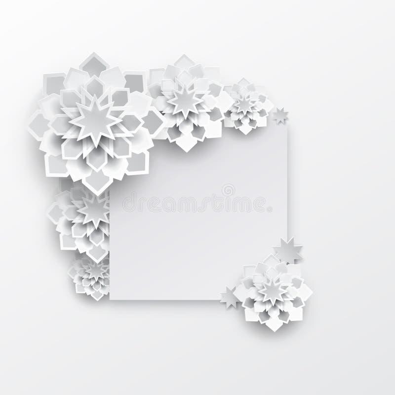 Cartão com o gráfico de papel árabe intrincado ilustração royalty free