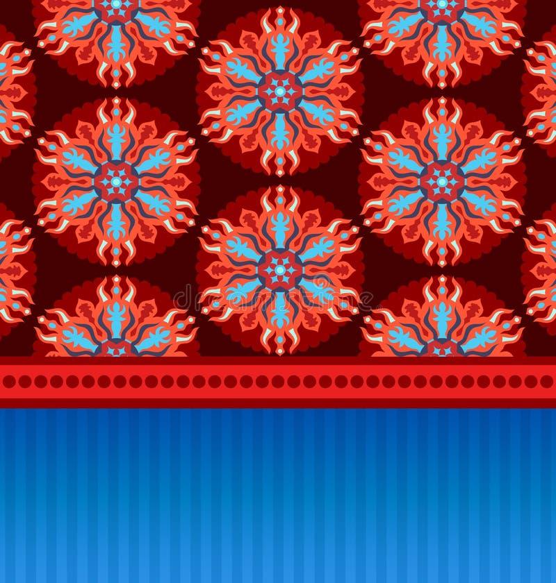 Cartão com o ornamento oriental do círculo ilustração do vetor
