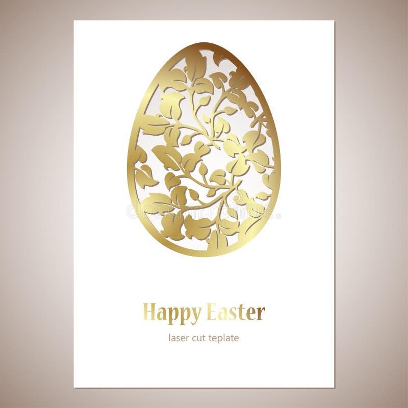 Cartão com o ovo da páscoa a céu aberto dourado com folhas e espaço para o texto Molde de corte do laser ilustração royalty free