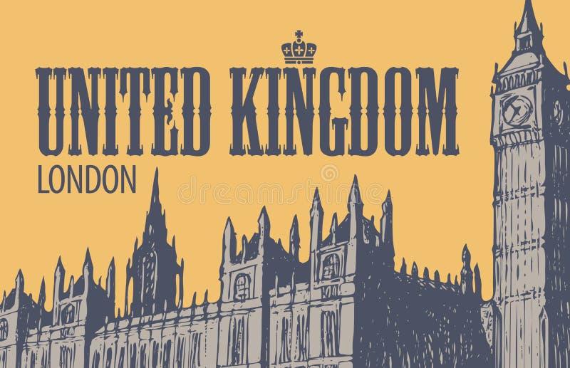 Cartão com o palácio de Westminster em Londres ilustração do vetor