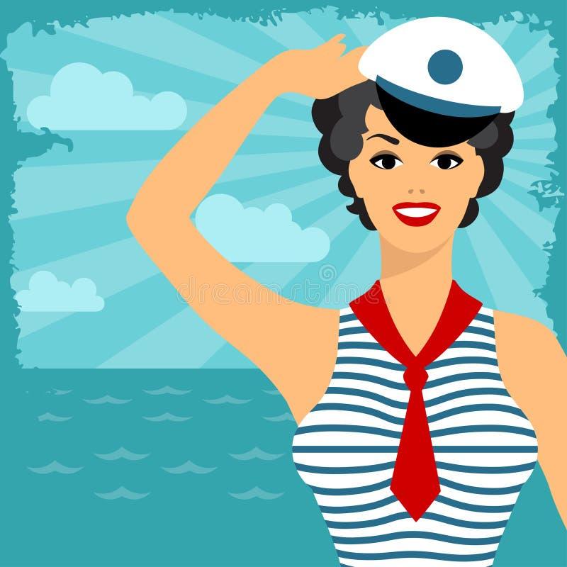 Cartão com o pino bonito acima do estilo dos anos 50 da menina do marinheiro ilustração do vetor